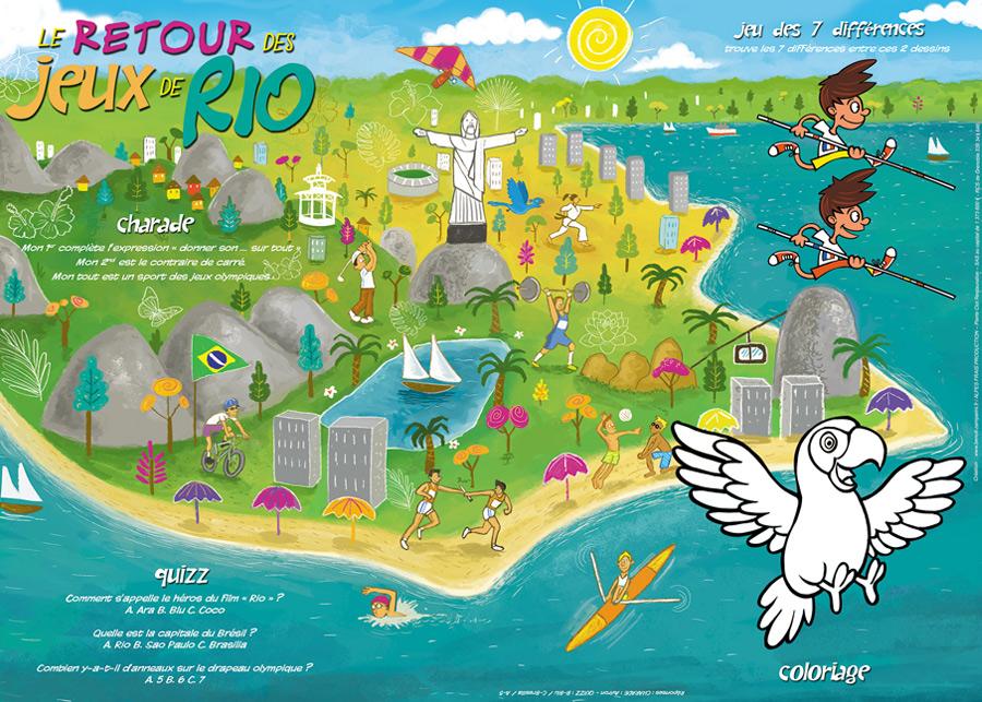 set de table pour enfants sur le thème des Jeux olympiques de Rio