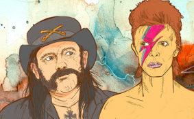 portrait de David Bowie et de Lenny Kilmister