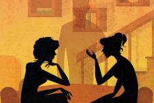 Affiche de théâtre deux femmes pour un fantôme